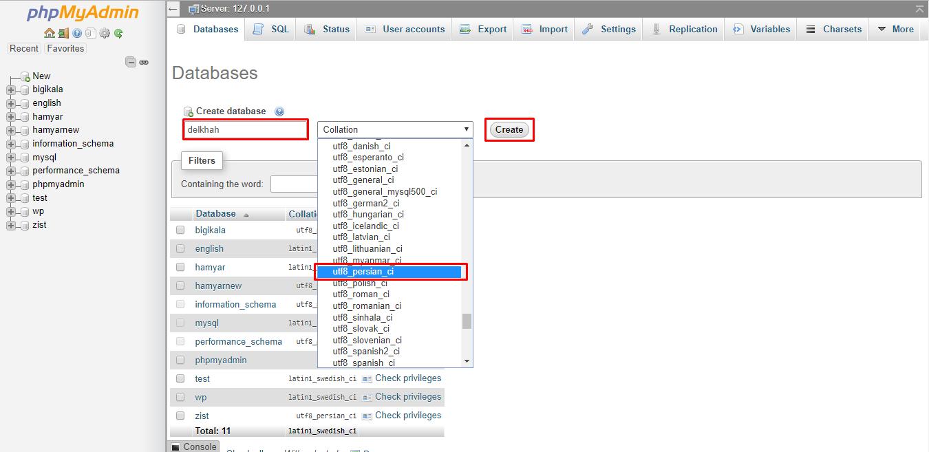create db- نصب وردپرس در لوکال هاست