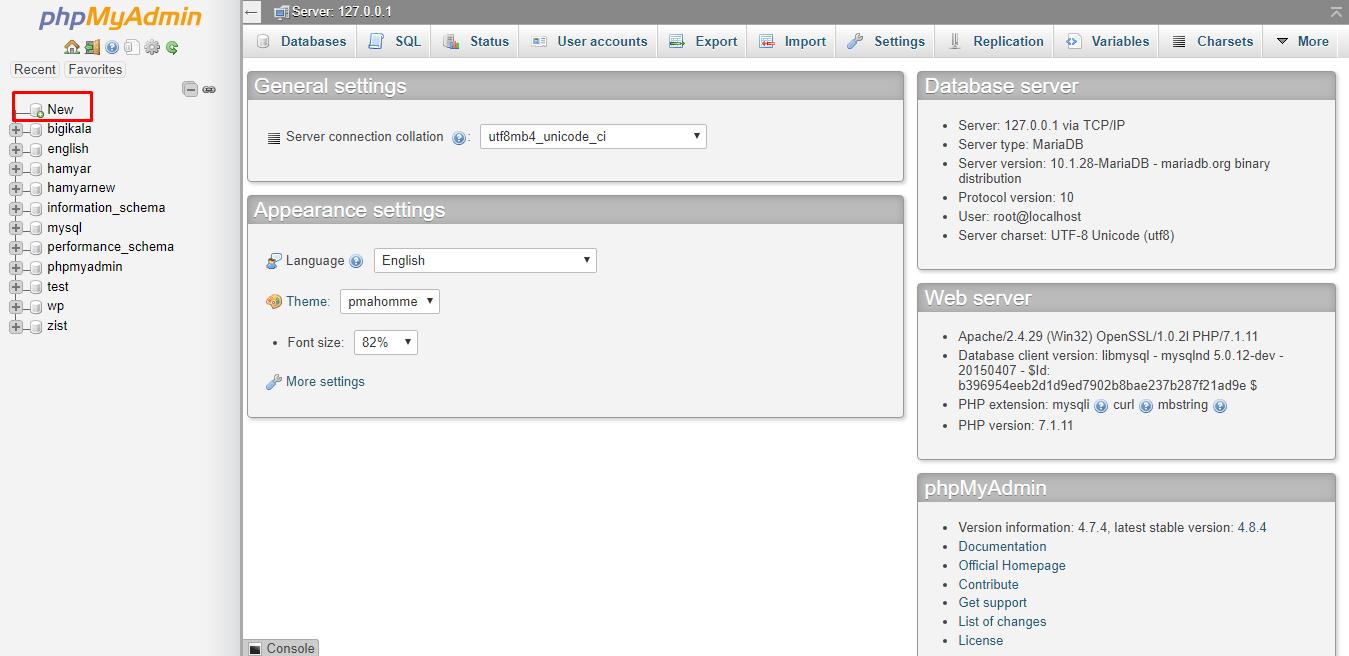 phpmyadmin- نصب وردپرس در لوکال هاست