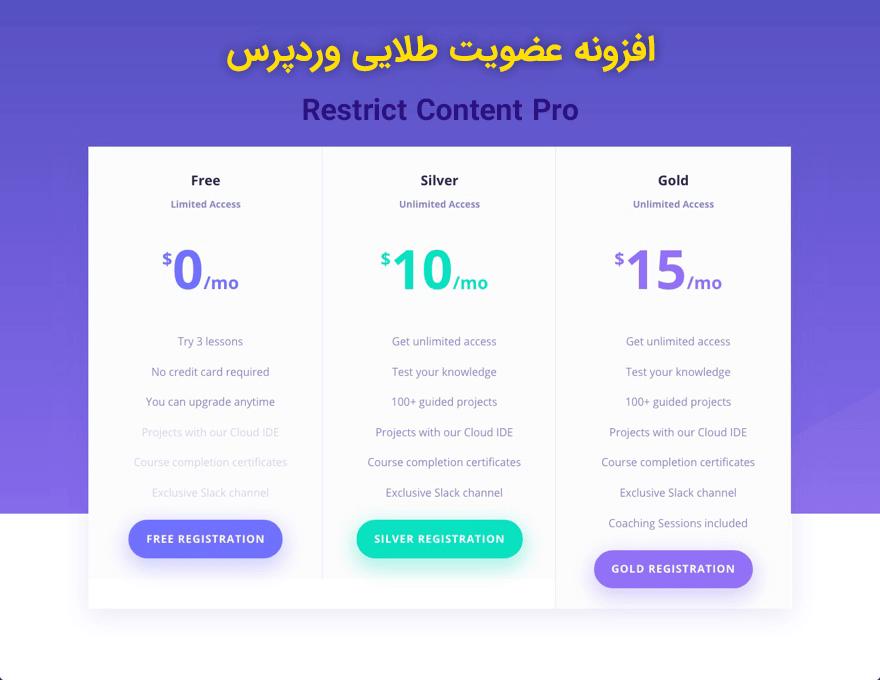 Restrict content pro   افزونه اشتراک ویژه و 17 افزودنی جانبی