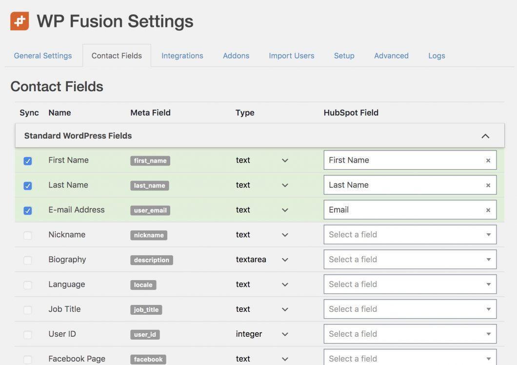 settings wp fusion