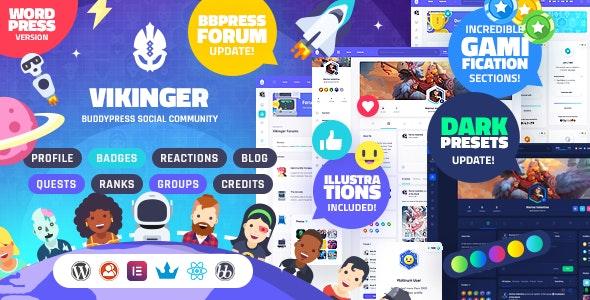 قالب Vikinger | دانلود قالب شبکه اجتماعی وردپرس وایکینگر